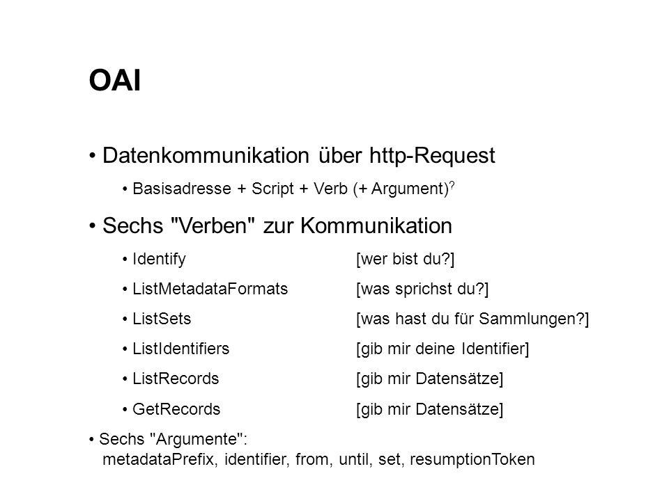 OAI Datenkommunikation über http-Request Basisadresse + Script + Verb (+ Argument) .