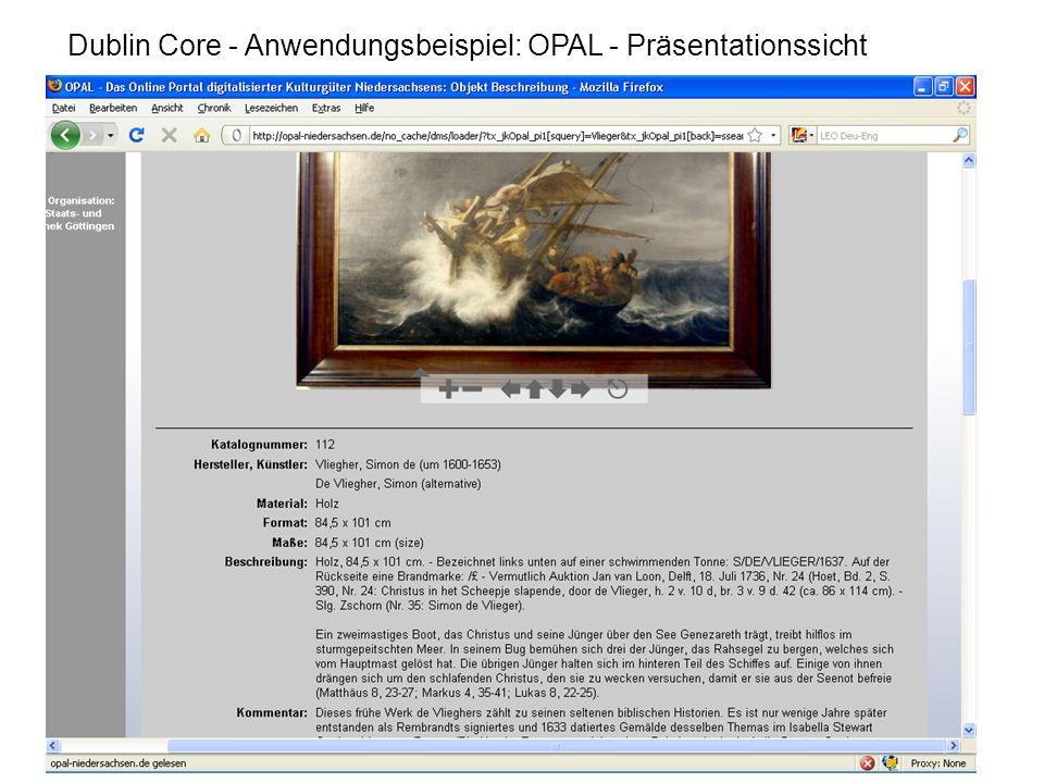 Dublin Core - Anwendungsbeispiel: OPAL - Präsentationssicht