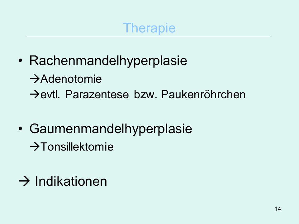 14 Therapie Rachenmandelhyperplasie Adenotomie evtl. Parazentese bzw. Paukenröhrchen Gaumenmandelhyperplasie Tonsillektomie Indikationen