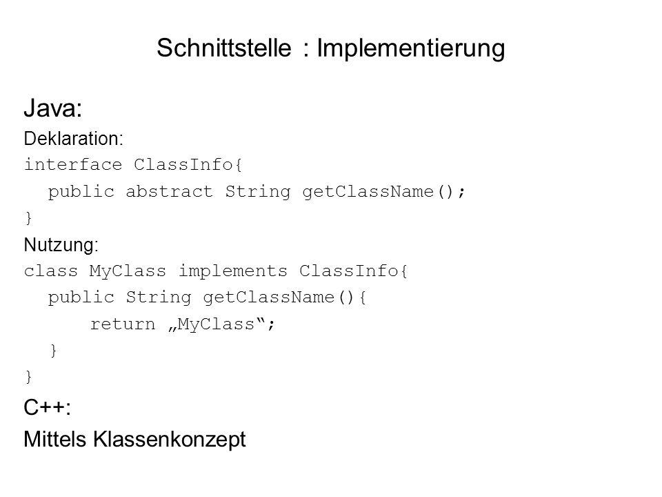 Schnittstelle : Implementierung Java: Deklaration: interface ClassInfo{ public abstract String getClassName(); } Nutzung: class MyClass implements ClassInfo{ public String getClassName(){ return MyClass; } C++: Mittels Klassenkonzept