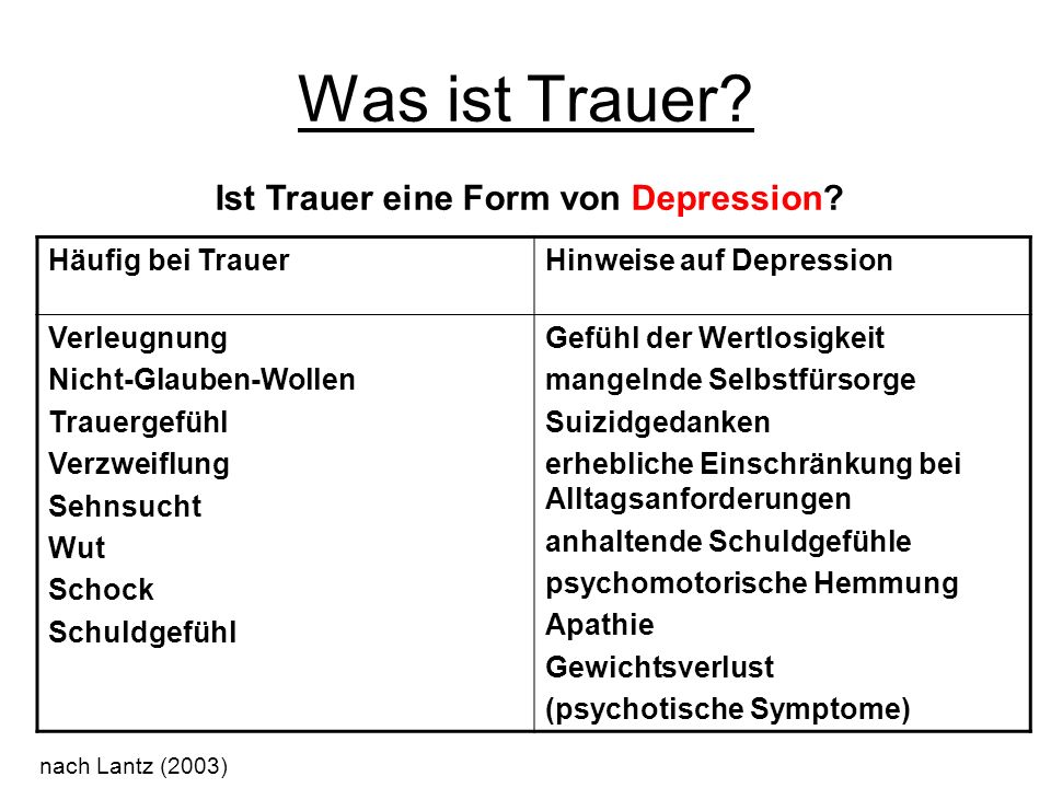 Was ist Trauer? Ist Trauer eine Form von Depression? Häufig bei TrauerHinweise auf Depression Verleugnung Nicht-Glauben-Wollen Trauergefühl Verzweiflu