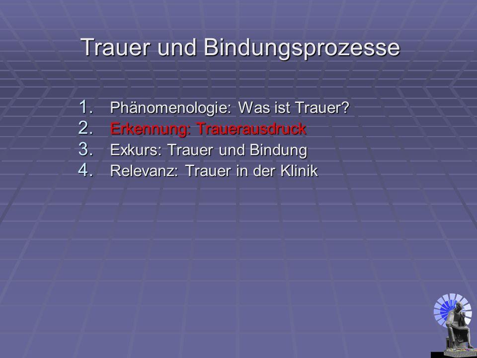 Trauer und Bindungsprozesse 1. Phänomenologie: Was ist Trauer? 2. Erkennung: Trauerausdruck 3. Exkurs: Trauer und Bindung 4. Relevanz: Trauer in der K