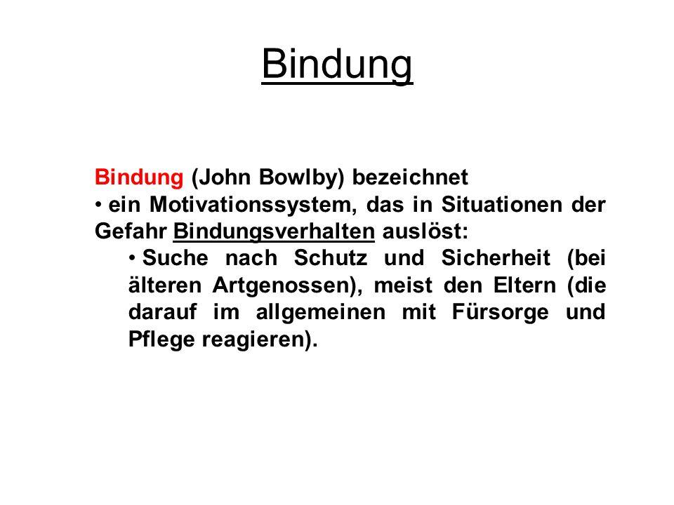 Bindung Bindung (John Bowlby) bezeichnet ein Motivationssystem, das in Situationen der Gefahr Bindungsverhalten auslöst: Suche nach Schutz und Sicherh