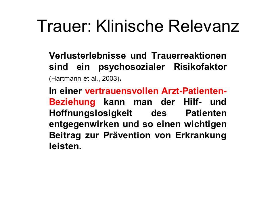 Trauer: Klinische Relevanz Verlusterlebnisse und Trauerreaktionen sind ein psychosozialer Risikofaktor (Hartmann et al., 2003). In einer vertrauensvol