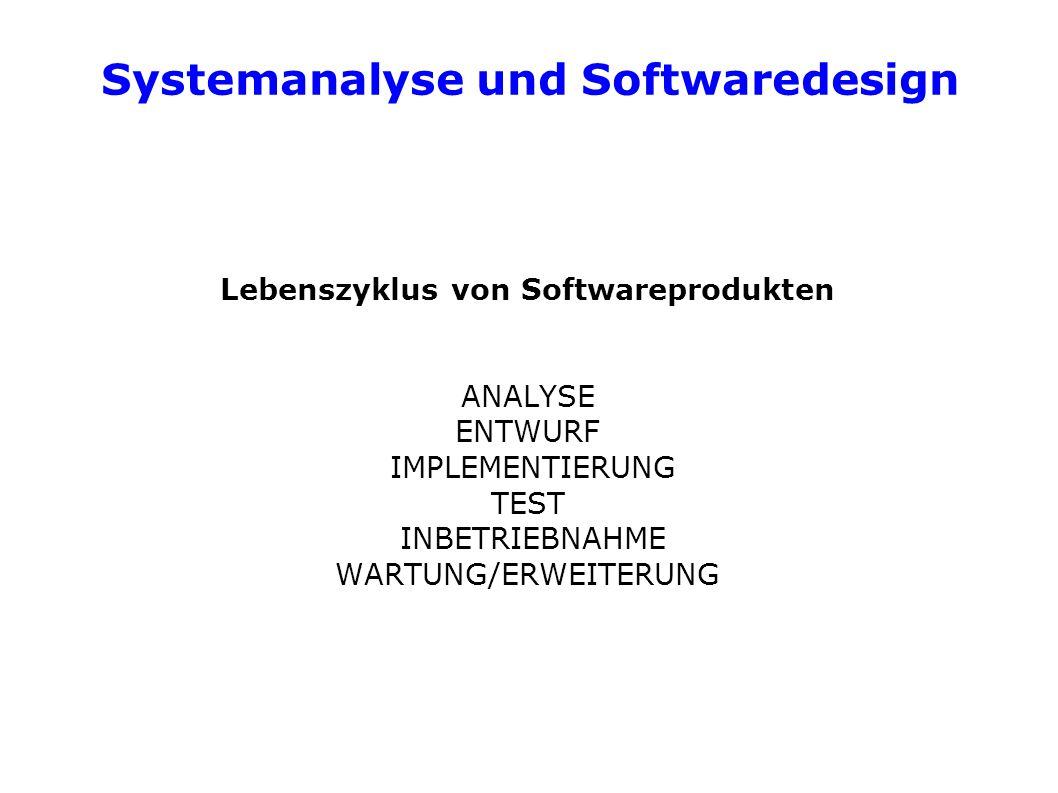 Systemanalyse und Softwaredesign Lebenszyklus von Softwareprodukten ANALYSE ENTWURF IMPLEMENTIERUNG TEST INBETRIEBNAHME WARTUNG/ERWEITERUNG