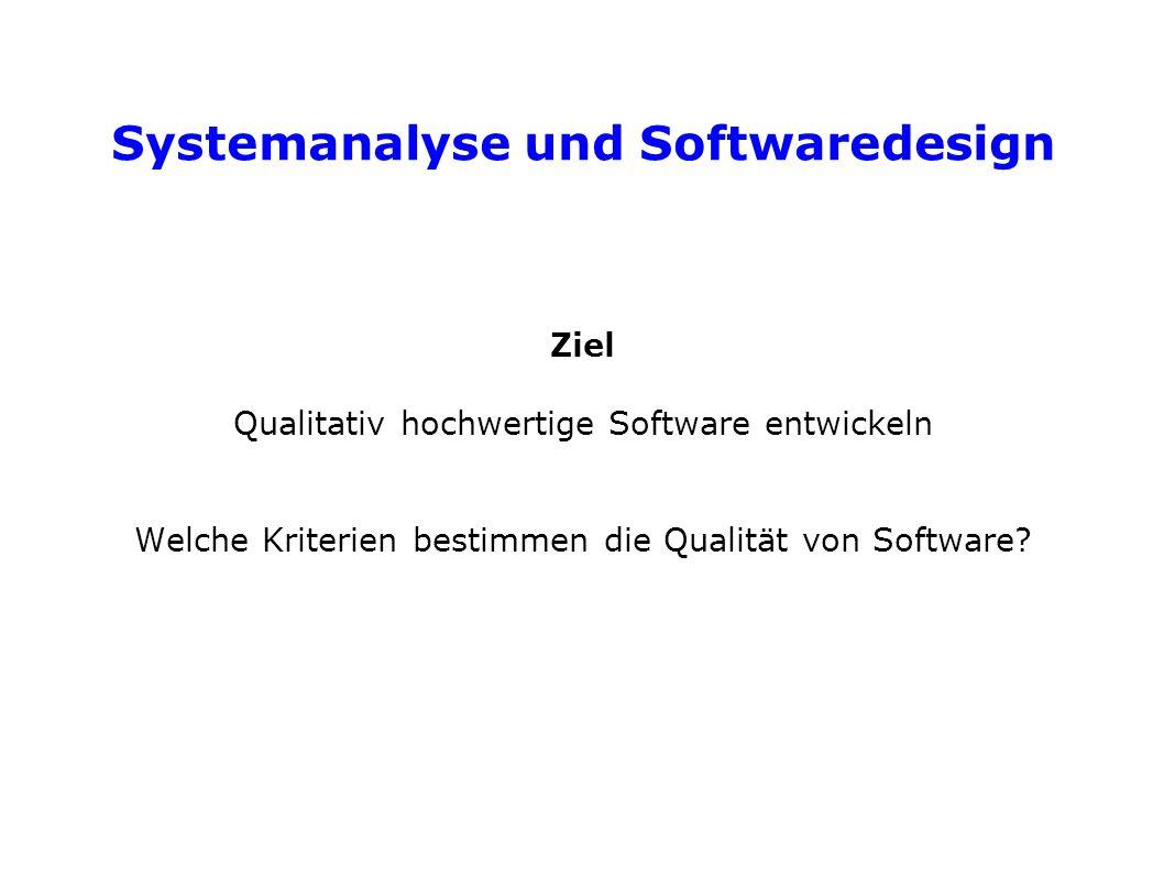 Systemanalyse und Softwaredesign Ziel Qualitativ hochwertige Software entwickeln Welche Kriterien bestimmen die Qualität von Software?