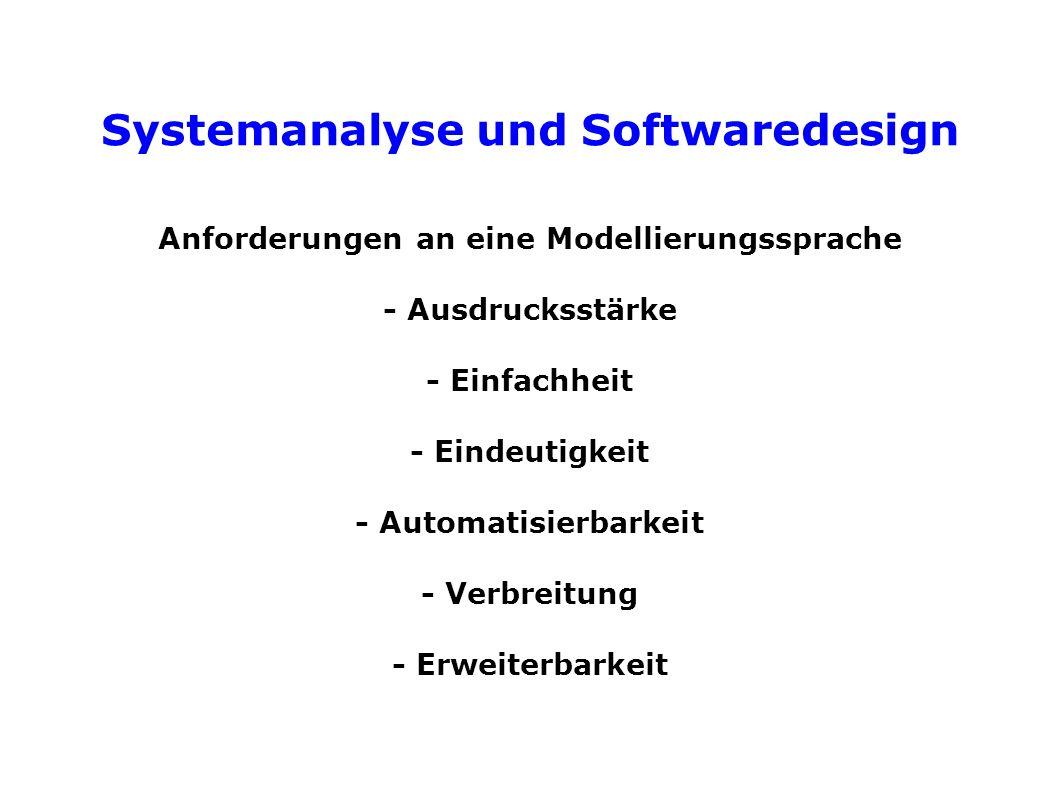 Systemanalyse und Softwaredesign Anforderungen an eine Modellierungssprache - Ausdrucksstärke - Einfachheit - Eindeutigkeit - Automatisierbarkeit - Verbreitung - Erweiterbarkeit