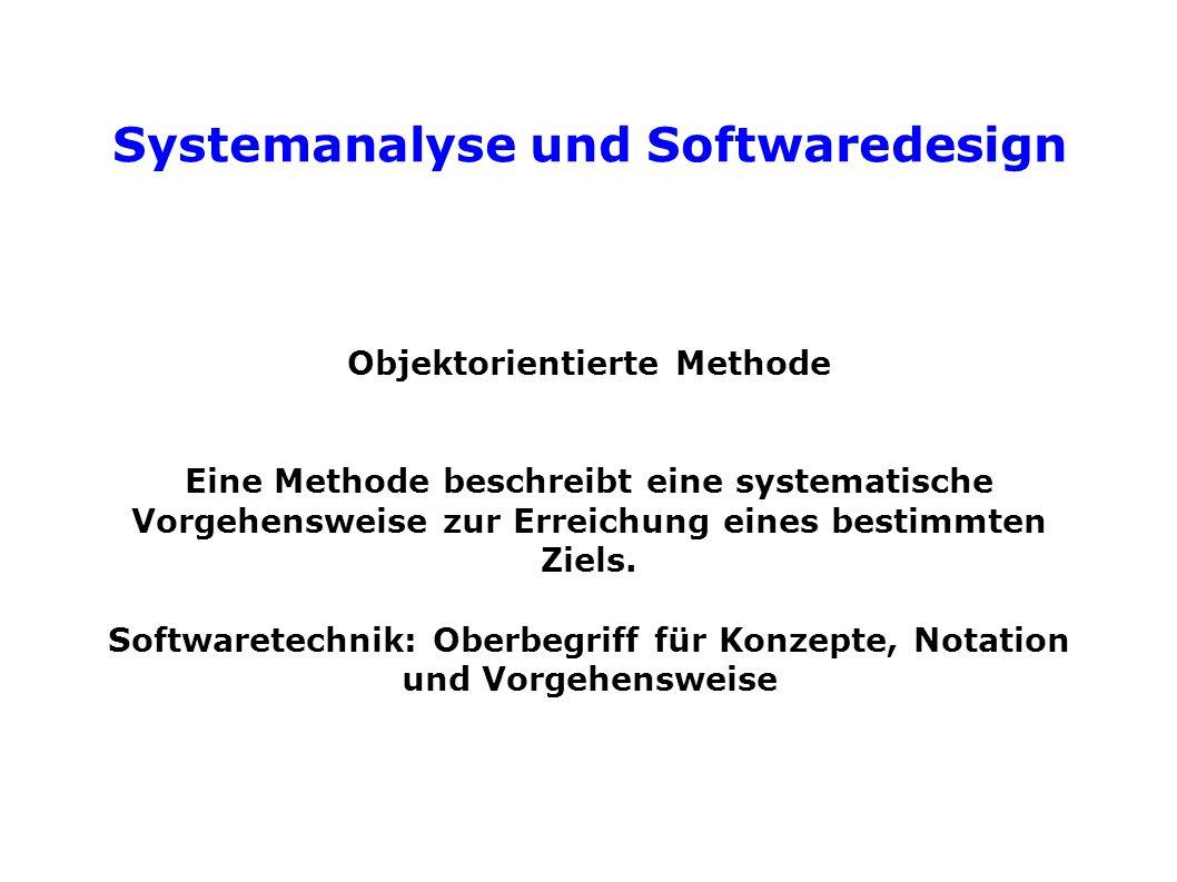 Systemanalyse und Softwaredesign Objektorientierte Methode Eine Methode beschreibt eine systematische Vorgehensweise zur Erreichung eines bestimmten Ziels.
