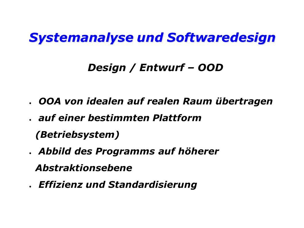 Systemanalyse und Softwaredesign Design / Entwurf – OOD OOA von idealen auf realen Raum übertragen auf einer bestimmten Plattform (Betriebsystem) Abbild des Programms auf höherer Abstraktionsebene Effizienz und Standardisierung