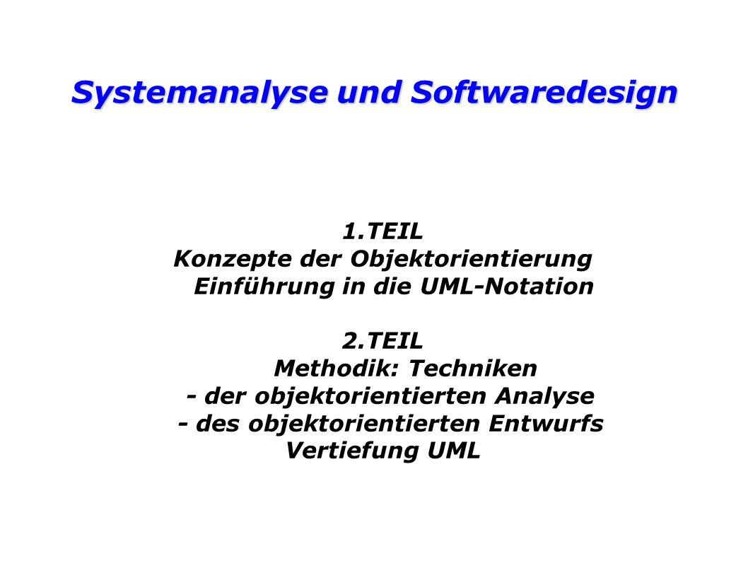 Systemanalyse und Softwaredesign 1.TEIL Konzepte der Objektorientierung Einführung in die UML-Notation 2.TEIL Methodik: Techniken - der objektorientierten Analyse - des objektorientierten Entwurfs Vertiefung UML