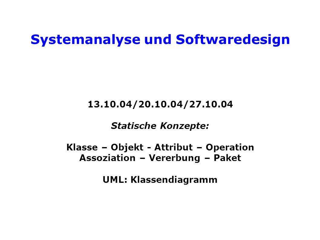 Systemanalyse und Softwaredesign Qualitätsmerkmal: Wiederverwendbarkeit = wenn ein hoher Prozentsatz des Systems für andere Probleme verwendet werden kann