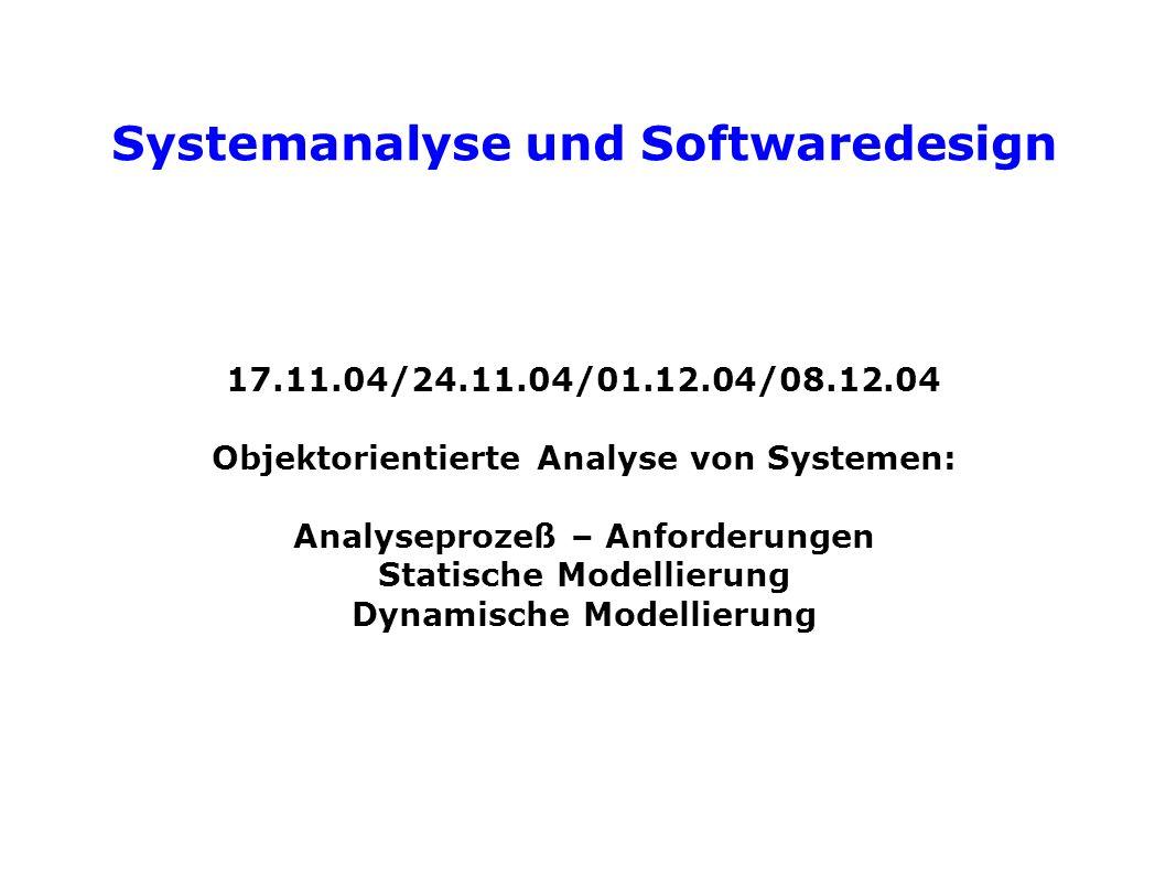 Systemanalyse und Softwaredesign 17.11.04/24.11.04/01.12.04/08.12.04 Objektorientierte Analyse von Systemen: Analyseprozeß – Anforderungen Statische Modellierung Dynamische Modellierung