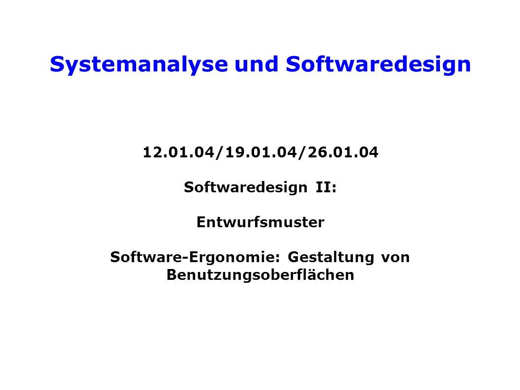Systemanalyse und Softwaredesign Drei-Schichten-Architektur