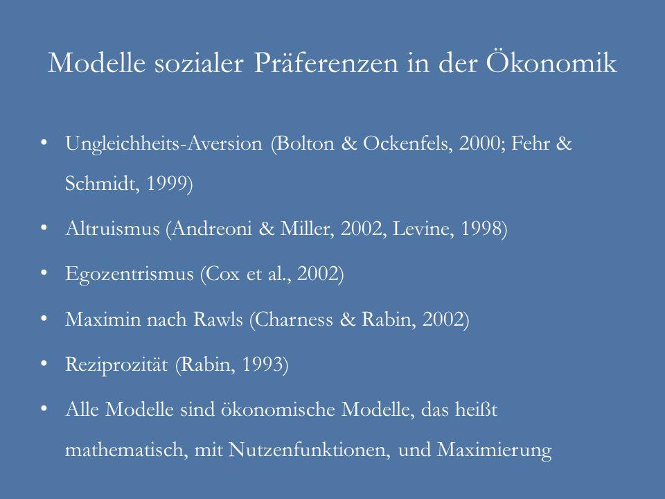 Modelle sozialer Präferenzen in der Ökonomik Ungleichheits-Aversion (Bolton & Ockenfels, 2000; Fehr & Schmidt, 1999) Altruismus (Andreoni & Miller, 20