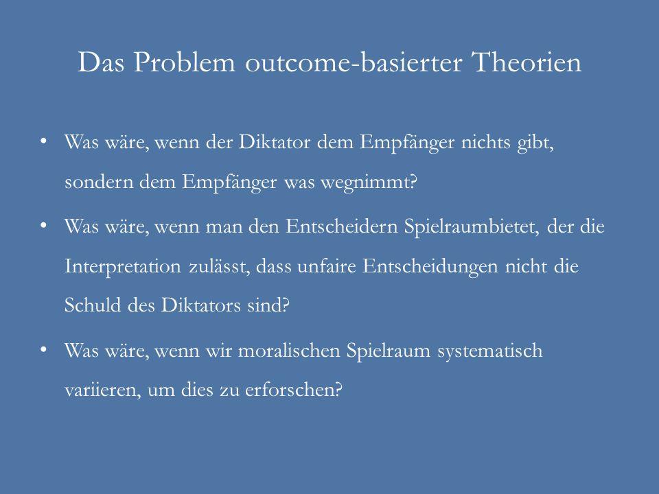 Das Problem outcome-basierter Theorien Was wäre, wenn der Diktator dem Empfänger nichts gibt, sondern dem Empfänger was wegnimmt? Was wäre, wenn man d