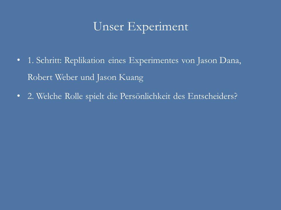 Unser Experiment 1. Schritt: Replikation eines Experimentes von Jason Dana, Robert Weber und Jason Kuang 2. Welche Rolle spielt die Persönlichkeit des