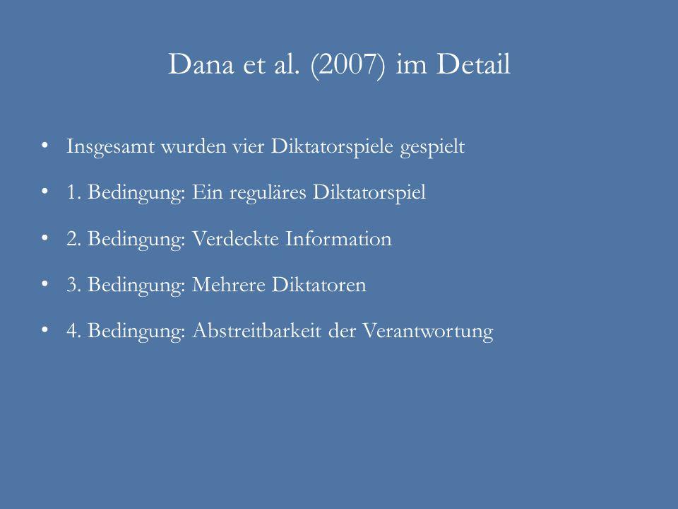 Dana et al. (2007) im Detail Insgesamt wurden vier Diktatorspiele gespielt 1. Bedingung: Ein reguläres Diktatorspiel 2. Bedingung: Verdeckte Informati