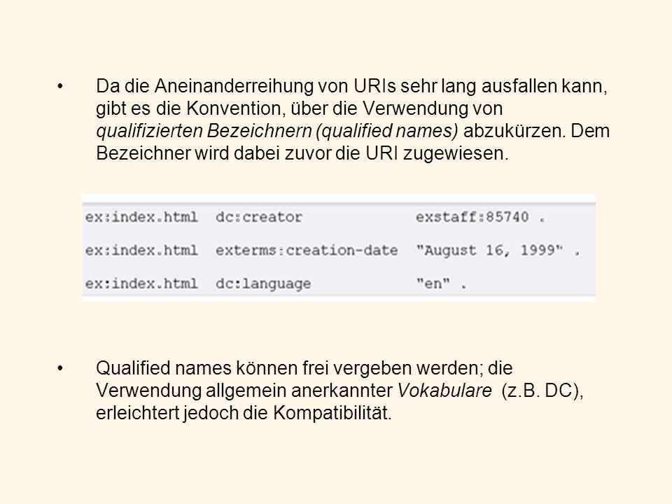 Da die Aneinanderreihung von URIs sehr lang ausfallen kann, gibt es die Konvention, über die Verwendung von qualifizierten Bezeichnern (qualified name