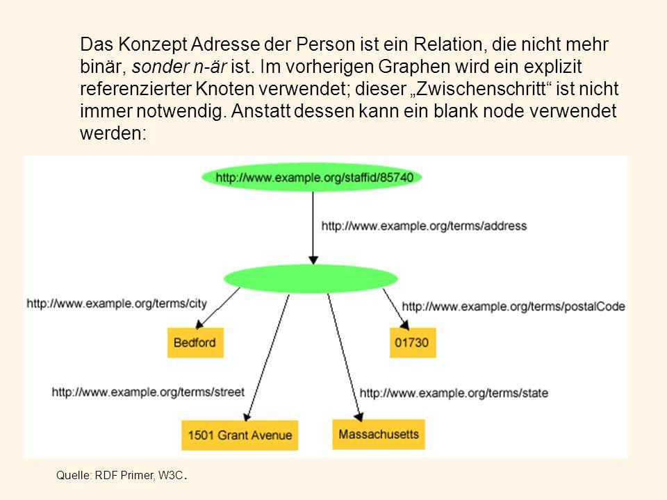Das Konzept Adresse der Person ist ein Relation, die nicht mehr binär, sonder n-är ist. Im vorherigen Graphen wird ein explizit referenzierter Knoten