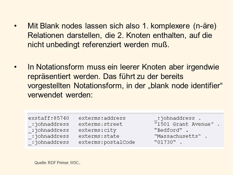 Mit Blank nodes lassen sich also 1. komplexere (n-äre) Relationen darstellen, die 2. Knoten enthalten, auf die nicht unbedingt referenziert werden muß