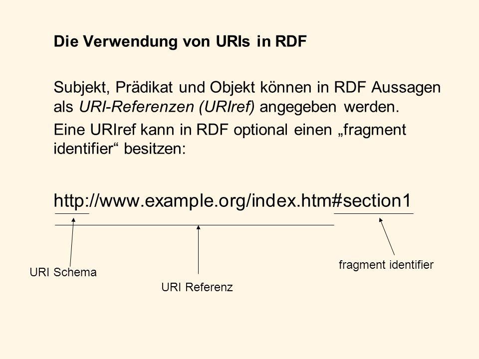 Die Verwendung von URIs in RDF Subjekt, Prädikat und Objekt können in RDF Aussagen als URI-Referenzen (URIref) angegeben werden. Eine URIref kann in R