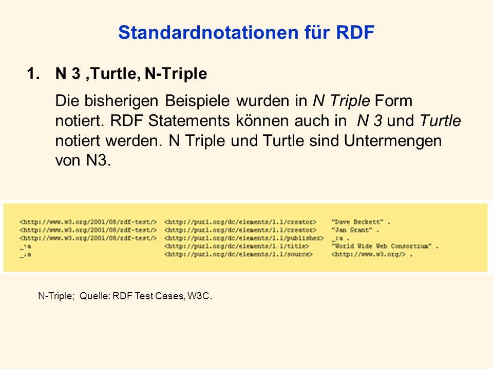 Standardnotationen für RDF 1.N 3,Turtle, N-Triple Die bisherigen Beispiele wurden in N Triple Form notiert. RDF Statements können auch in N 3 und Turt