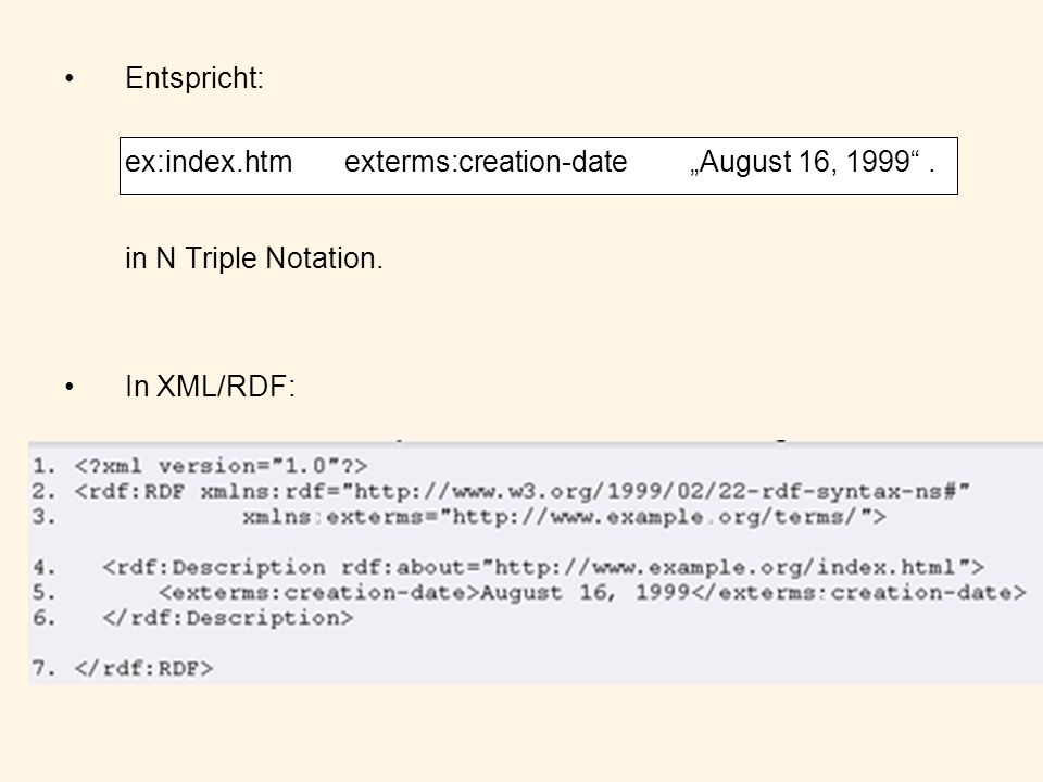 Entspricht: ex:index.htm exterms:creation-dateAugust 16, 1999. in N Triple Notation. In XML/RDF: