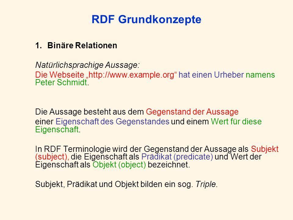 RDF Grundkonzepte 1.Binäre Relationen Natürlichsprachige Aussage: Die Webseite http://www.example.org hat einen Urheber namens Peter Schmidt. Die Auss