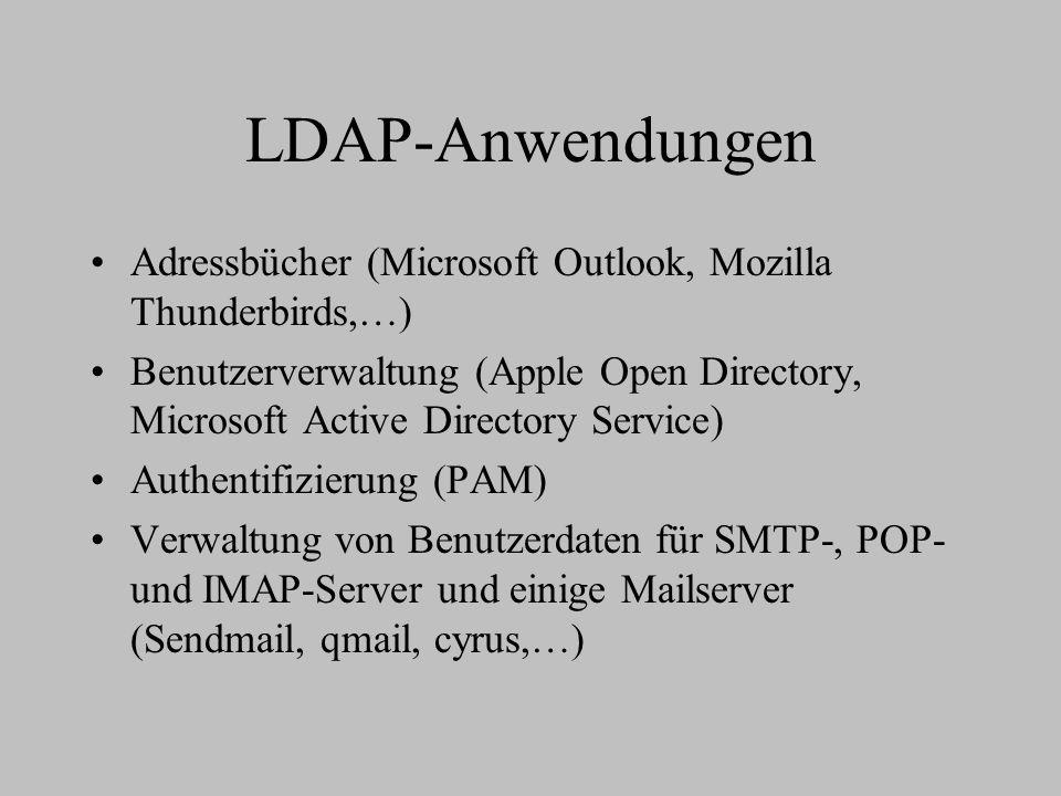 LDAP-Anwendungen Adressbücher (Microsoft Outlook, Mozilla Thunderbirds,…) Benutzerverwaltung (Apple Open Directory, Microsoft Active Directory Service) Authentifizierung (PAM) Verwaltung von Benutzerdaten für SMTP-, POP- und IMAP-Server und einige Mailserver (Sendmail, qmail, cyrus,…)