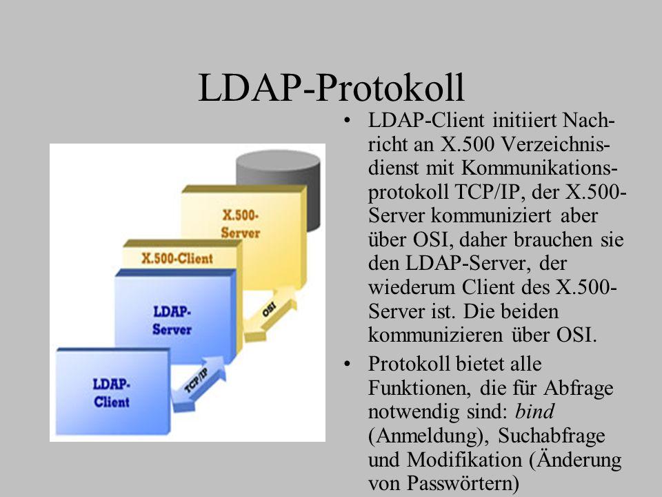 LDAP-Protokoll LDAP-Client initiiert Nach- richt an X.500 Verzeichnis- dienst mit Kommunikations- protokoll TCP/IP, der X.500- Server kommuniziert aber über OSI, daher brauchen sie den LDAP-Server, der wiederum Client des X.500- Server ist.