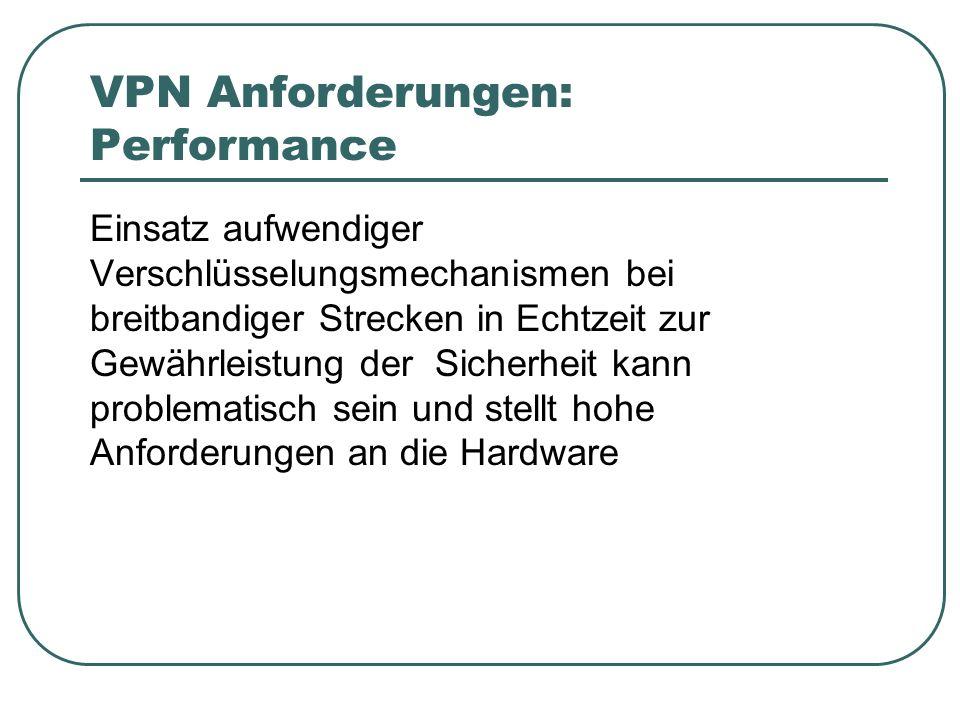 VPN Anforderungen: Performance Einsatz aufwendiger Verschlüsselungsmechanismen bei breitbandiger Strecken in Echtzeit zur Gewährleistung der Sicherheit kann problematisch sein und stellt hohe Anforderungen an die Hardware