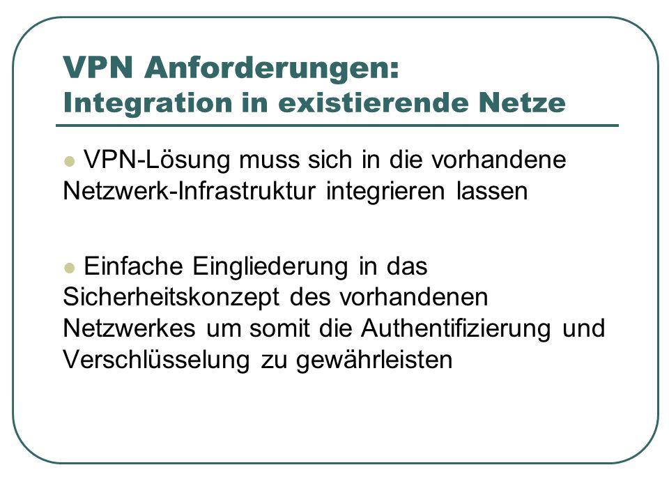 VPN Anforderungen: Integration in existierende Netze VPN-Lösung muss sich in die vorhandene Netzwerk-Infrastruktur integrieren lassen Einfache Eingliederung in das Sicherheitskonzept des vorhandenen Netzwerkes um somit die Authentifizierung und Verschlüsselung zu gewährleisten