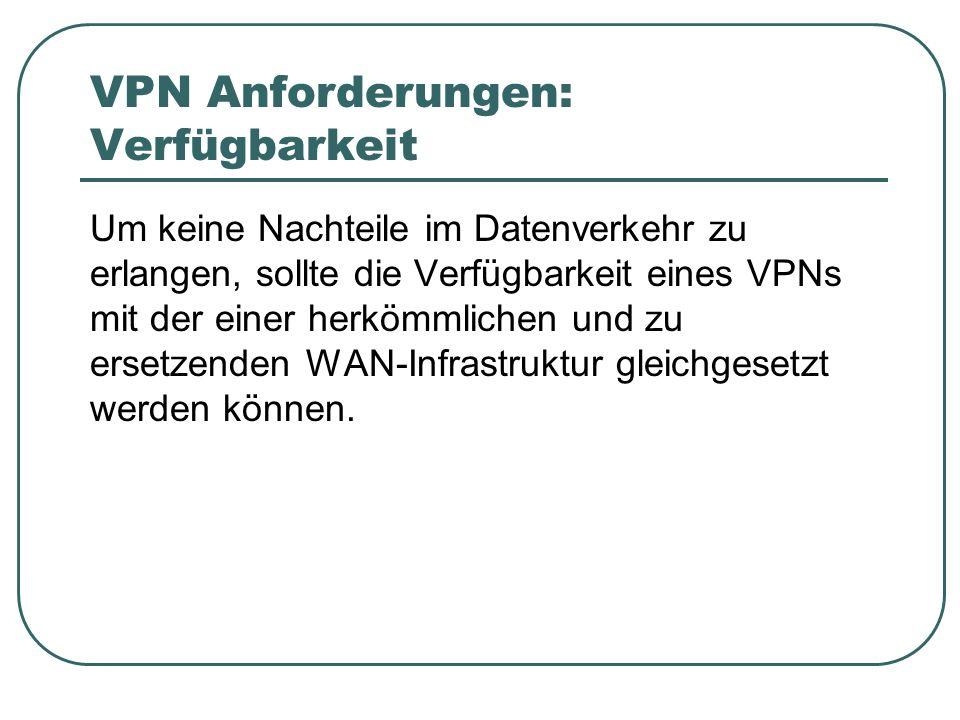 VPN Anforderungen: Verfügbarkeit Um keine Nachteile im Datenverkehr zu erlangen, sollte die Verfügbarkeit eines VPNs mit der einer herkömmlichen und zu ersetzenden WAN-Infrastruktur gleichgesetzt werden können.