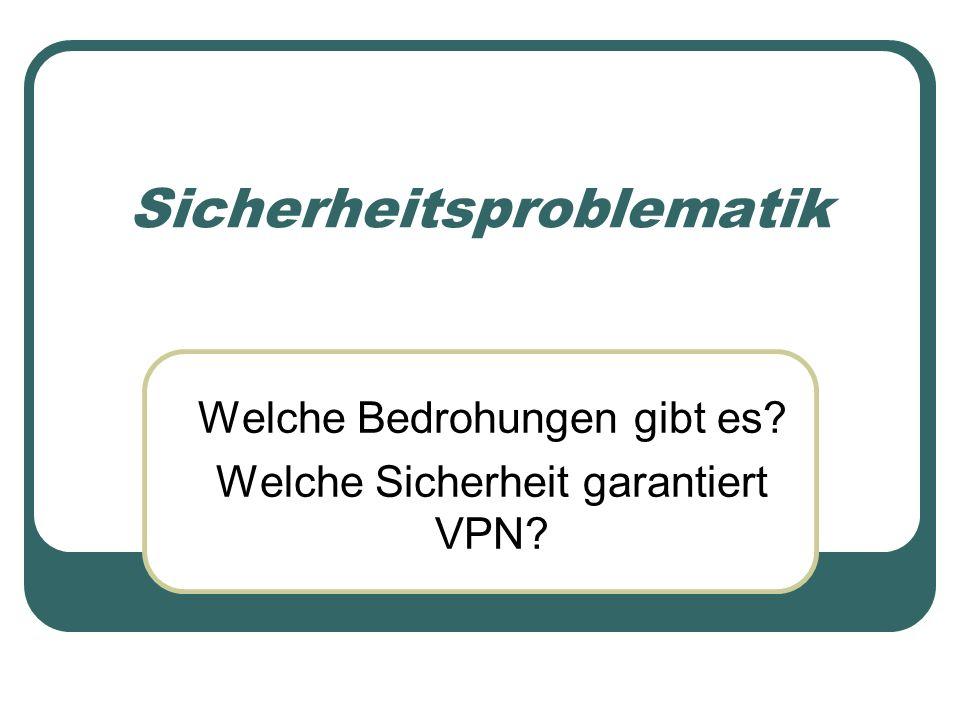 Sicherheitsproblematik Welche Bedrohungen gibt es? Welche Sicherheit garantiert VPN?