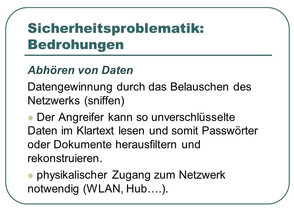 Sicherheitsproblematik: Bedrohungen Abhören von Daten Datengewinnung durch das Belauschen des Netzwerks (sniffen) Der Angreifer kann so unverschlüssel