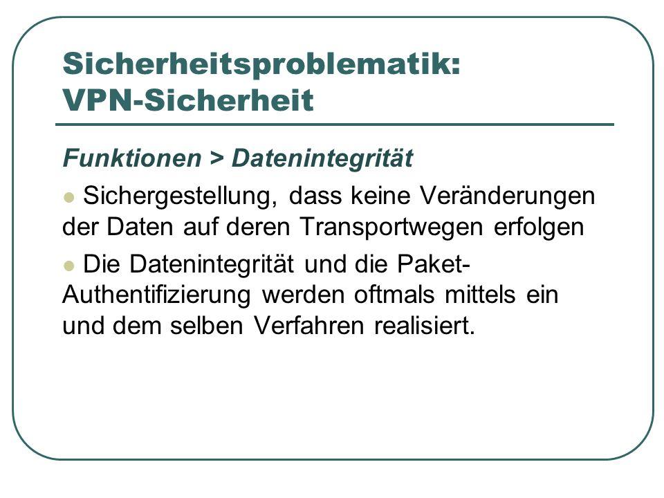 Sicherheitsproblematik: VPN-Sicherheit Funktionen > Datenintegrität Sichergestellung, dass keine Veränderungen der Daten auf deren Transportwegen erfo
