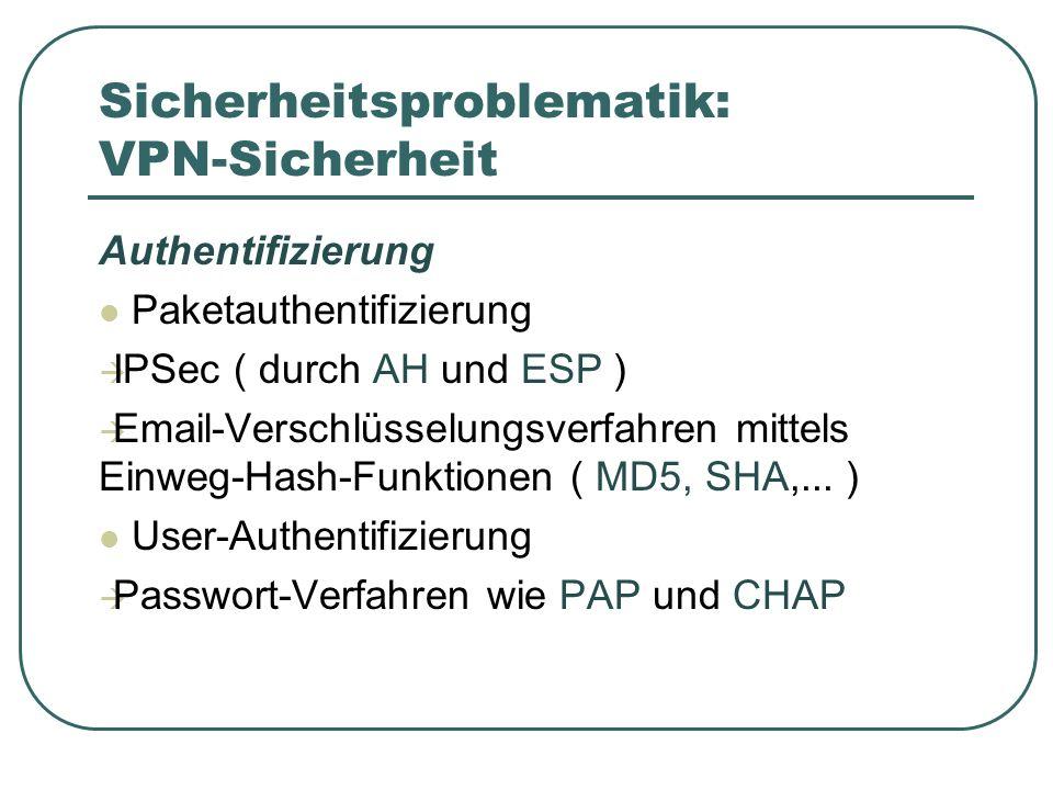 Sicherheitsproblematik: VPN-Sicherheit Authentifizierung Paketauthentifizierung IPSec ( durch AH und ESP ) Email-Verschlüsselungsverfahren mittels Einweg-Hash-Funktionen ( MD5, SHA,...