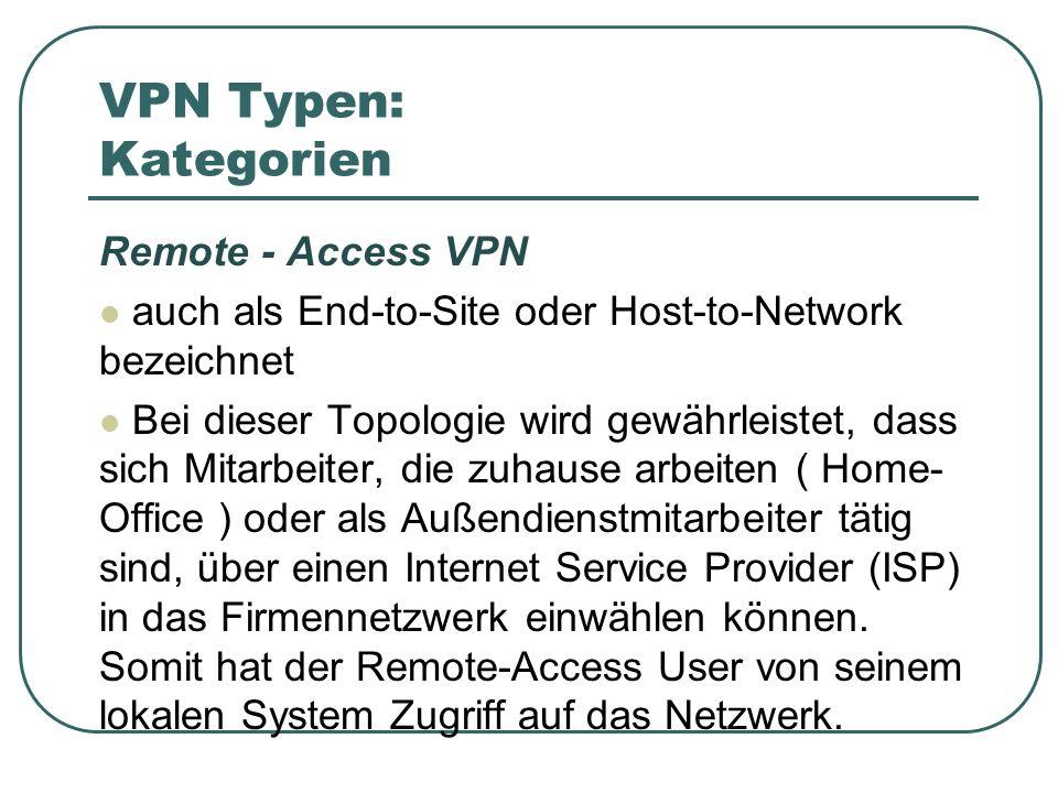 VPN Typen: Kategorien Remote - Access VPN auch als End-to-Site oder Host-to-Network bezeichnet Bei dieser Topologie wird gewährleistet, dass sich Mitarbeiter, die zuhause arbeiten ( Home- Office ) oder als Außendienstmitarbeiter tätig sind, über einen Internet Service Provider (ISP) in das Firmennetzwerk einwählen können.