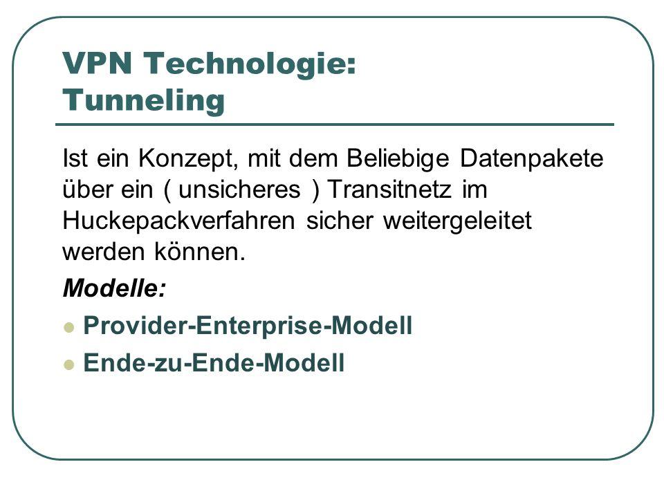 VPN Technologie: Tunneling Ist ein Konzept, mit dem Beliebige Datenpakete über ein ( unsicheres ) Transitnetz im Huckepackverfahren sicher weitergelei