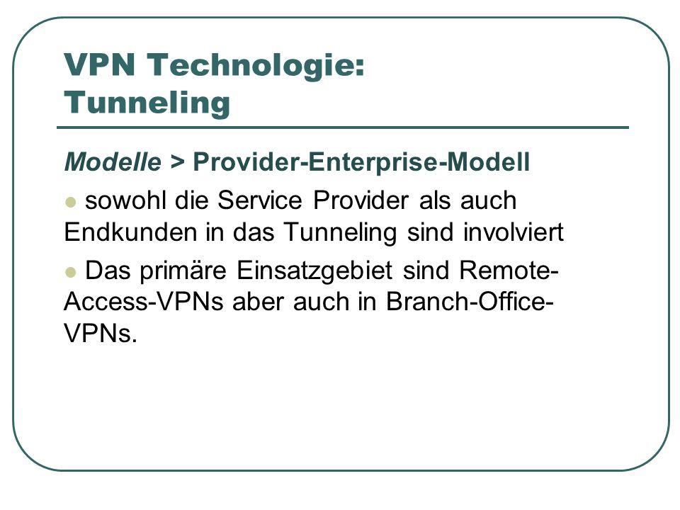 VPN Technologie: Tunneling Modelle > Provider-Enterprise-Modell sowohl die Service Provider als auch Endkunden in das Tunneling sind involviert Das primäre Einsatzgebiet sind Remote- Access-VPNs aber auch in Branch-Office- VPNs.