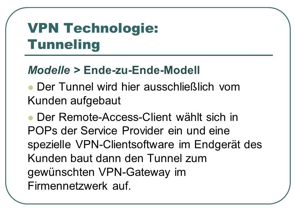 VPN Technologie: Tunneling Modelle > Ende-zu-Ende-Modell Der Tunnel wird hier ausschließlich vom Kunden aufgebaut Der Remote-Access-Client wählt sich in POPs der Service Provider ein und eine spezielle VPN-Clientsoftware im Endgerät des Kunden baut dann den Tunnel zum gewünschten VPN-Gateway im Firmennetzwerk auf.