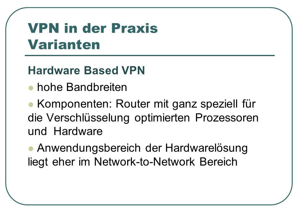VPN in der Praxis Varianten Hardware Based VPN hohe Bandbreiten Komponenten: Router mit ganz speziell für die Verschlüsselung optimierten Prozessoren und Hardware Anwendungsbereich der Hardwarelösung liegt eher im Network-to-Network Bereich