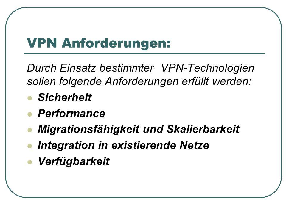 VPN Anforderungen: Durch Einsatz bestimmter VPN-Technologien sollen folgende Anforderungen erfüllt werden: Sicherheit Performance Migrationsfähigkeit und Skalierbarkeit Integration in existierende Netze Verfügbarkeit