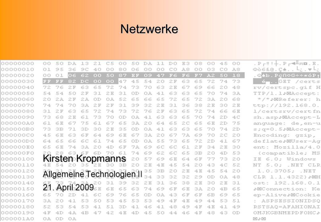 Netzwerke Kirsten Kropmanns Allgemeine Technologien II 21. April 2009