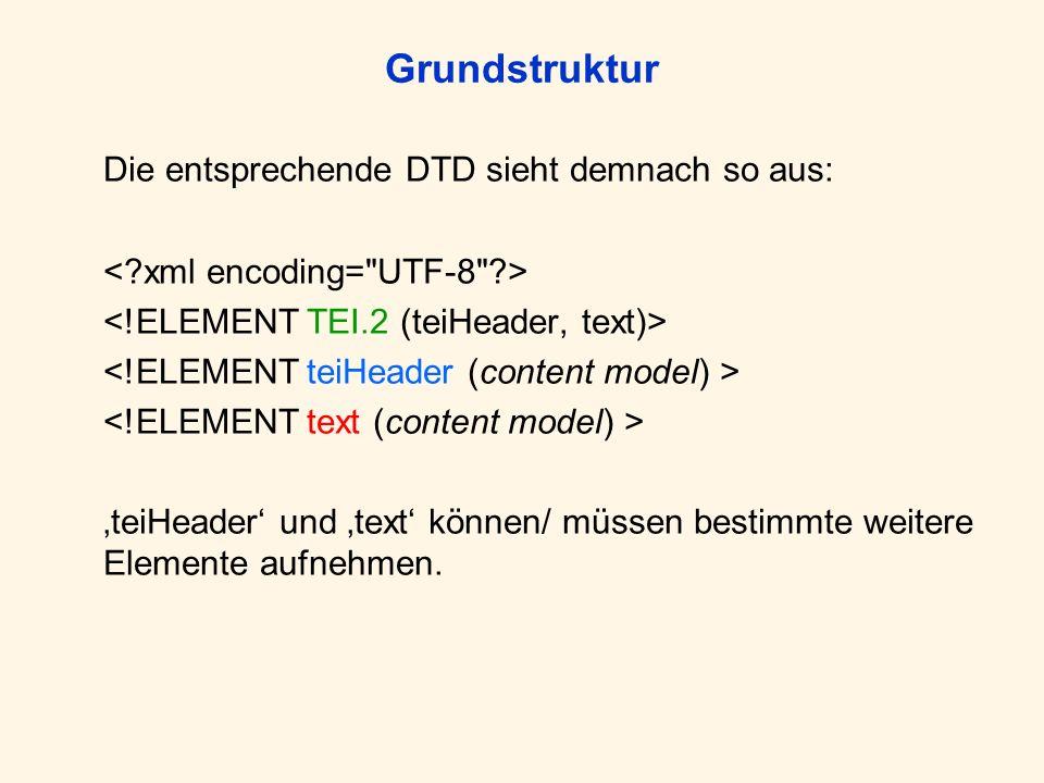 Grundstruktur Die entsprechende DTD sieht demnach so aus: teiHeader und text können/ müssen bestimmte weitere Elemente aufnehmen.