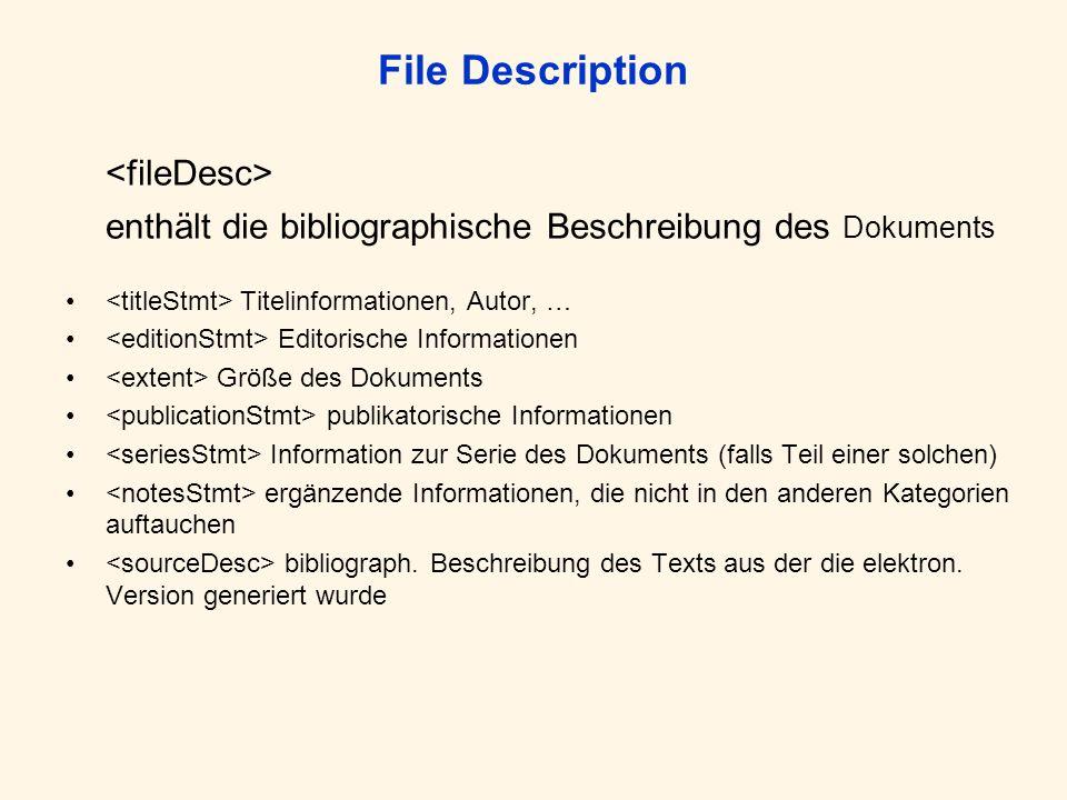 File Description enthält die bibliographische Beschreibung des Dokuments Titelinformationen, Autor, … Editorische Informationen Größe des Dokuments publikatorische Informationen Information zur Serie des Dokuments (falls Teil einer solchen) ergänzende Informationen, die nicht in den anderen Kategorien auftauchen bibliograph.