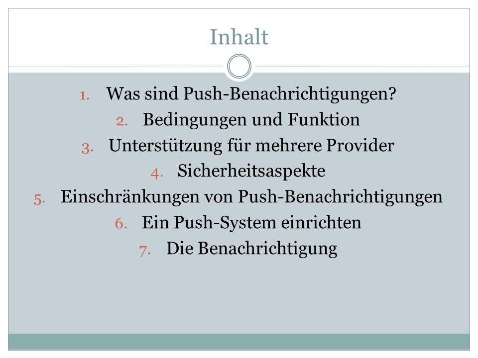 Inhalt 1. Was sind Push-Benachrichtigungen? 2. Bedingungen und Funktion 3. Unterstützung für mehrere Provider 4. Sicherheitsaspekte 5. Einschränkungen