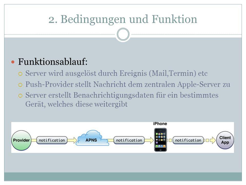 2. Bedingungen und Funktion Funktionsablauf: Server wird ausgelöst durch Ereignis (Mail,Termin) etc Push-Provider stellt Nachricht dem zentralen Apple
