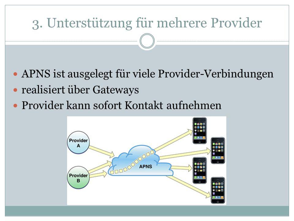 3. Unterstützung für mehrere Provider APNS ist ausgelegt für viele Provider-Verbindungen realisiert über Gateways Provider kann sofort Kontakt aufnehm