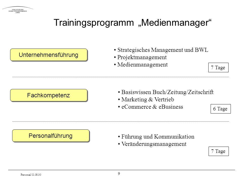 9 Personal/11.08.00 Trainingsprogramm Medienmanager Unternehmensführung Fachkompetenz Personalführung Strategisches Management und BWL Projektmanageme